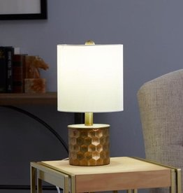 Silverwood Furniture Reimagined Hive Mini Gilded 15.5 in. Gold Table Lamp with Linen Shade