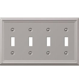 Amerelle Ascher 4 Gang Toggle Steel Wall Plate - Brushed Nickel