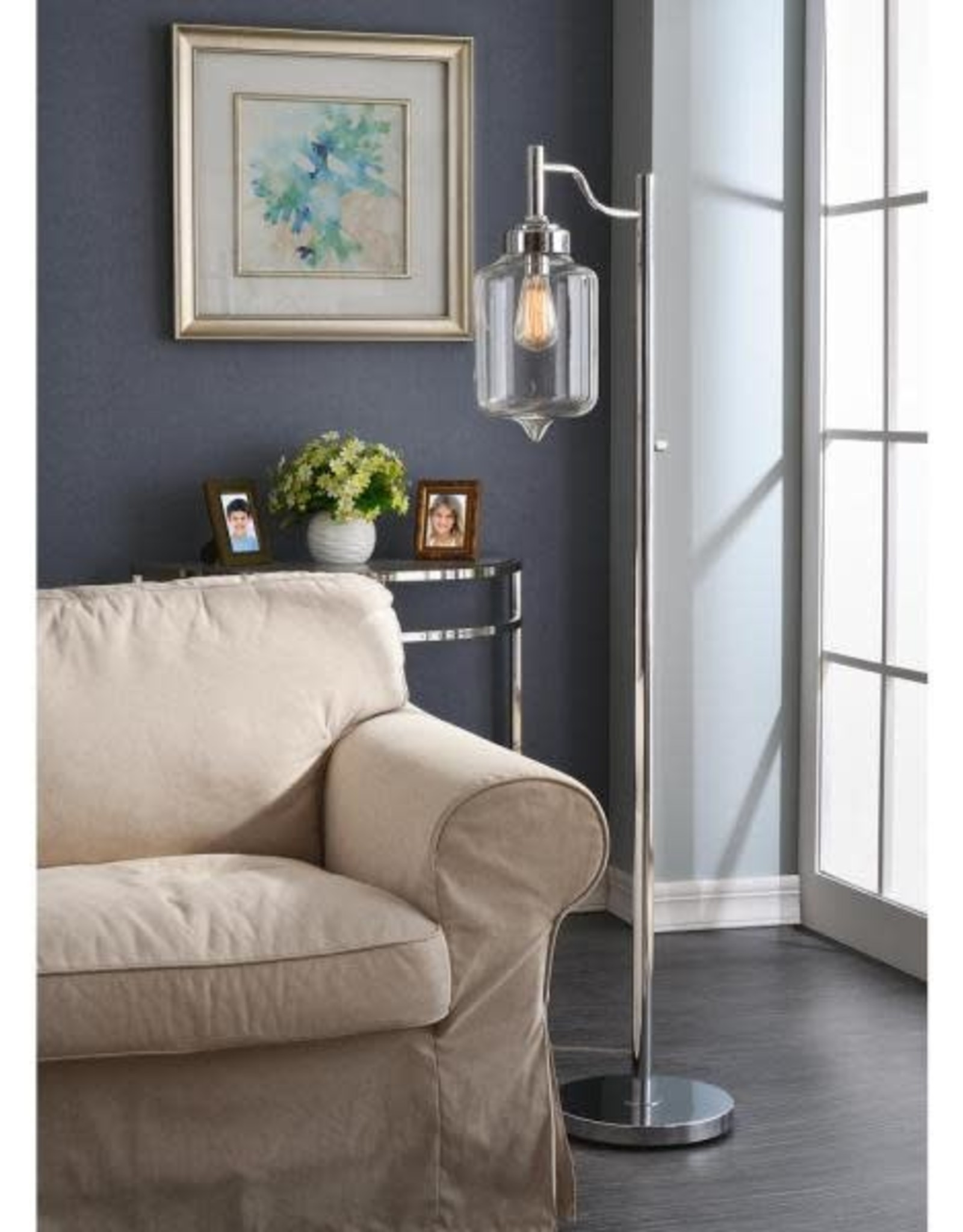Kenroy Home Casey 57 in. Chrome Floor Lamp