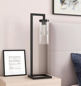 Meyer&Cross Malva 26 in. Blackened Bronze Table Lamp with Seeded Glass Shade
