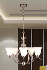 Merra 5-Light Brushed Nickel Chandelier with Etched Opal Glass Shade