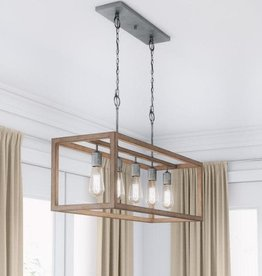 Home Decorators Collection Boswell Quarter 5-Light Galvanized Island Chandelier with Painted Chestnut Wood Accents