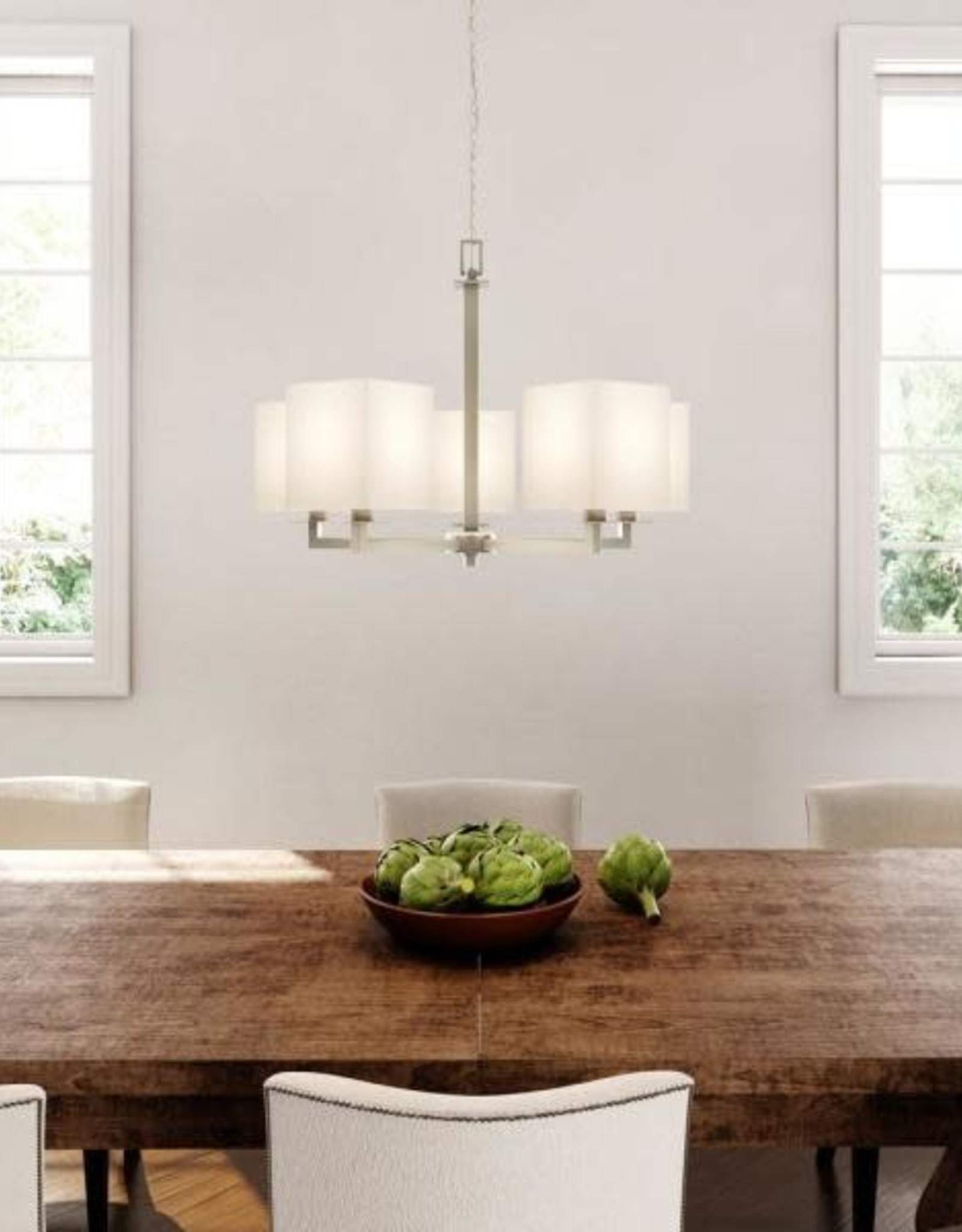 Hampton Bay Menlo Park 5-Light Brushed Nickel Chandelier with Cream Fabric Shades