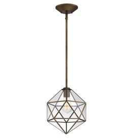 Home Decorators Collection 1-Light Old Satin Brass Mini Pendant with Clear Glass, Vintage Bulb Included