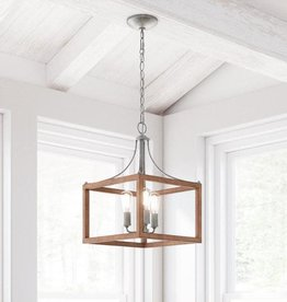 Home Decorators Collection Boswell Quarter 3-Light Galvanized Pendant with Painted Chestnut Wood Accents