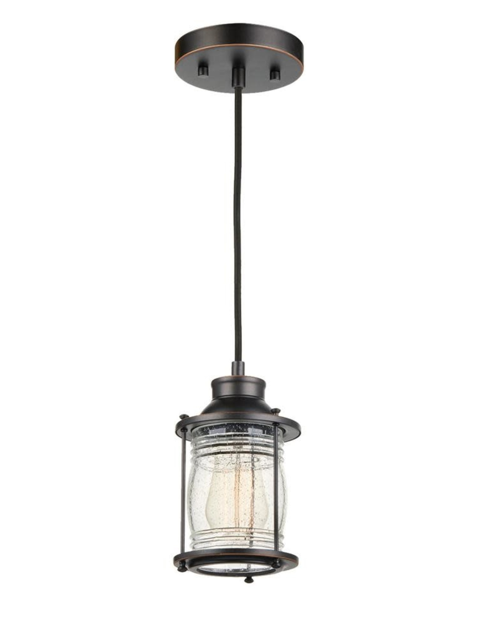Globe Electric Bayfield 1-Light Dark Bronze Plug-In or Hardwire Pendant Lighting with Ribbed Seeded Glass Shade