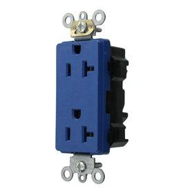 Leviton Decora Plus 20 Amp Lev-Lok Modular Device Commercial Grade Self Grounding Duplex Outlet, Blue