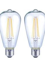 EcoSmart 75-Watt Equivalent ST19 Antique Edison Dimmable Clear Glass Filament Vintage Style LED Light Bulb Soft White (2-Pack)