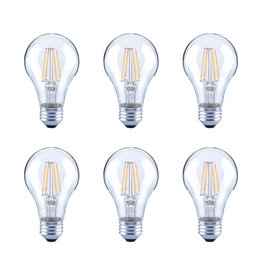 60-Watt Equivalent A19 Clear Glass Vintage Decorative Edison Filament Dimmable LED Light Bulb Soft White (6-Pack)
