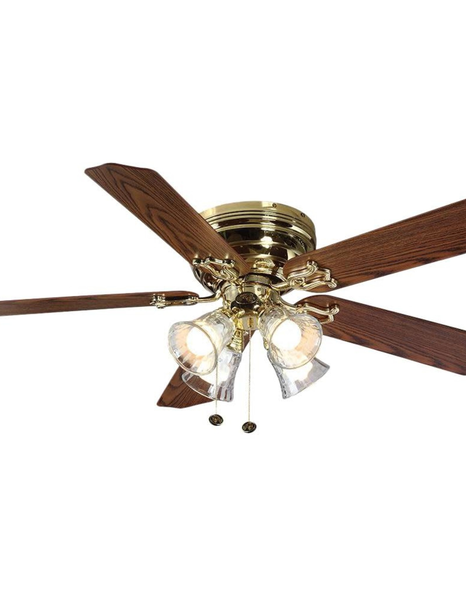 Hampton Bay Carriage House 52 in. LED Indoor Polished Brass Ceiling Fan with Light Kit