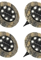 Bell + Howell 6000K Ultra Solar Powered Slate Like Outdoor Integrated LED Landscape Path Disk Lights (4-Pack)