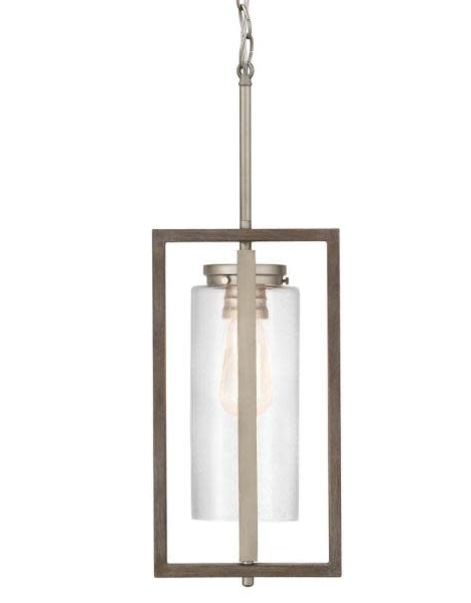 Home Decorators Collection Palermo Grove Antique Nickel 1-Light Hanging Outdoor Lantern with Weathered Gray Wood Accents