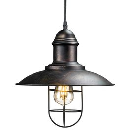 Tesino 1-Light Black Industrial Cage Pendant Lamp