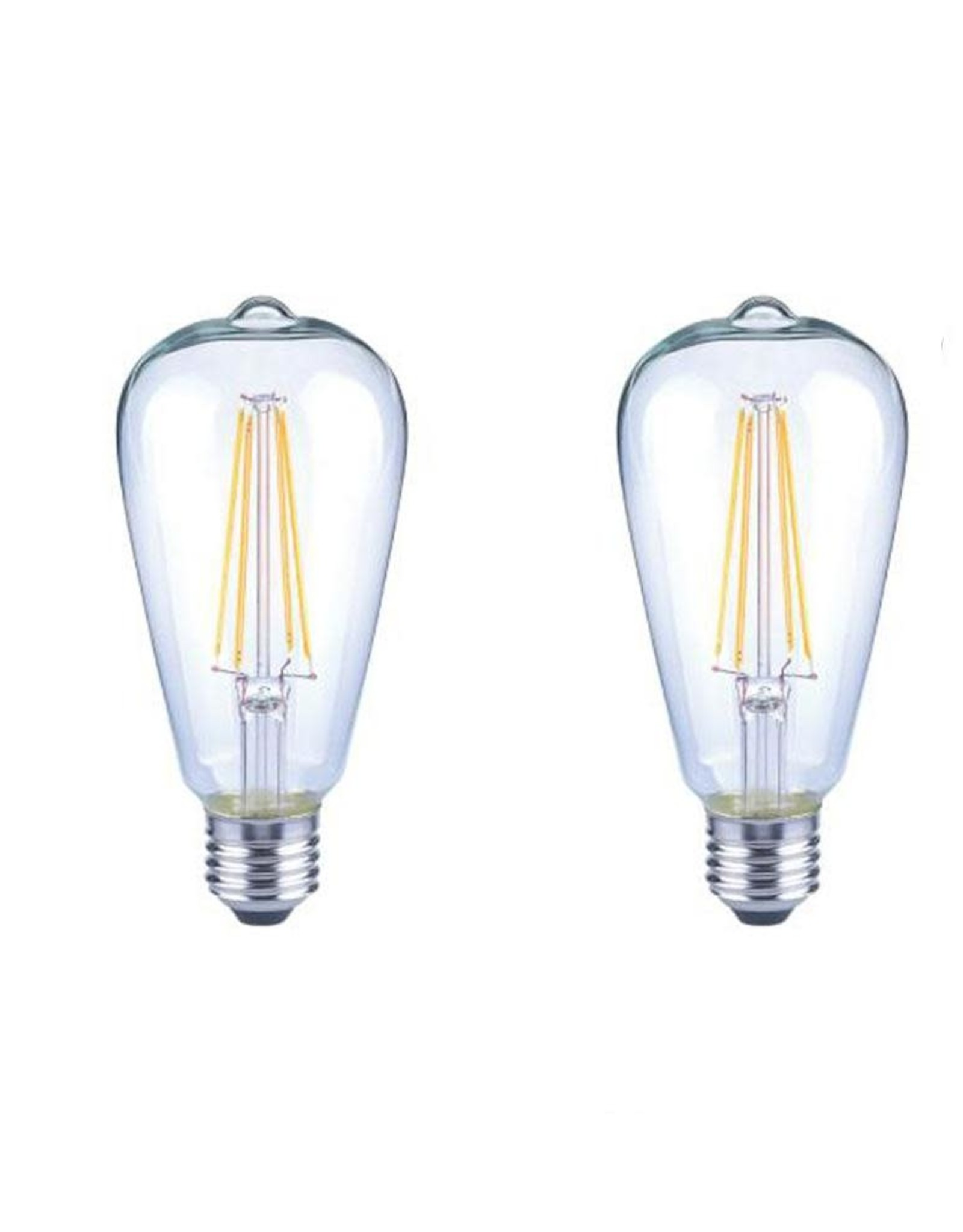 EcoSmart 40-Watt Equivalent ST19 Antique Edison Dimmable Clear Glass Filament Vintage Style LED Light Bulb Daylight 2 pack