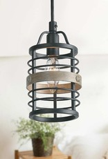 LNC Akari 5 in. 1-Light Black Industrial Open Cage Modern Farmhouse Drum Mini Pendant with Aged Oak Accents LED Compatible