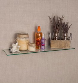 DANYA B Pristine 24 in. W x 6 in. D Clear Glass Floating Shelf with Chrome Brackets