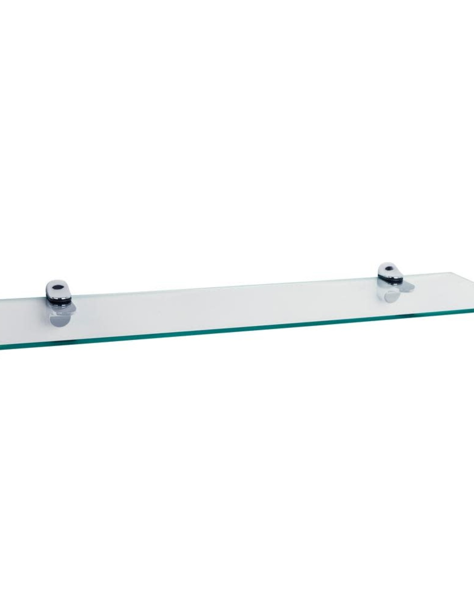 DANYA B Pristine 24 in. W x 6 in. D Clear Glass Floating Shelf with Chrome Brackets