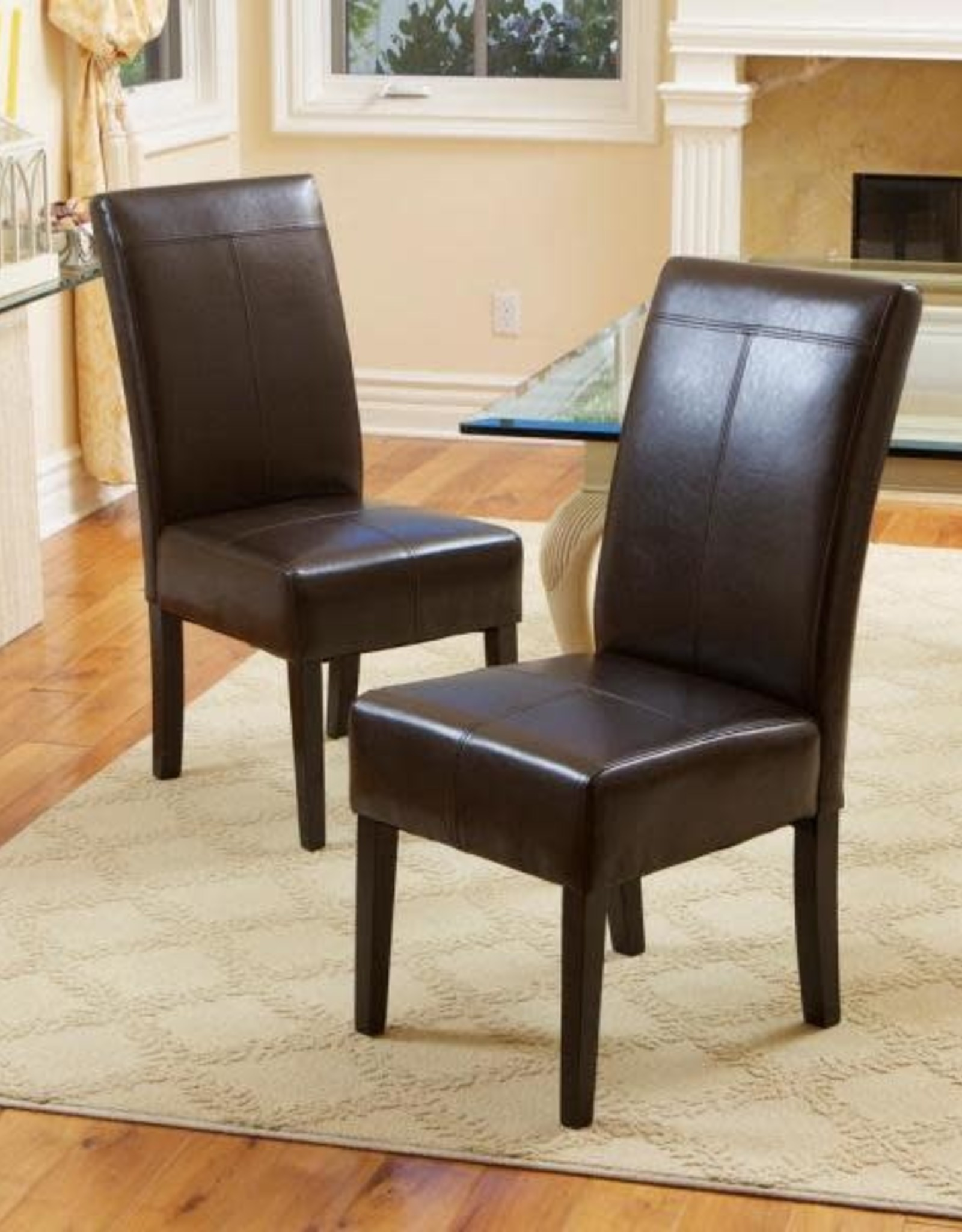 NOBLE HOUSE HOME Pertica T-stitch Chocolate Brown Leather Dining Chairs (Set of 4)