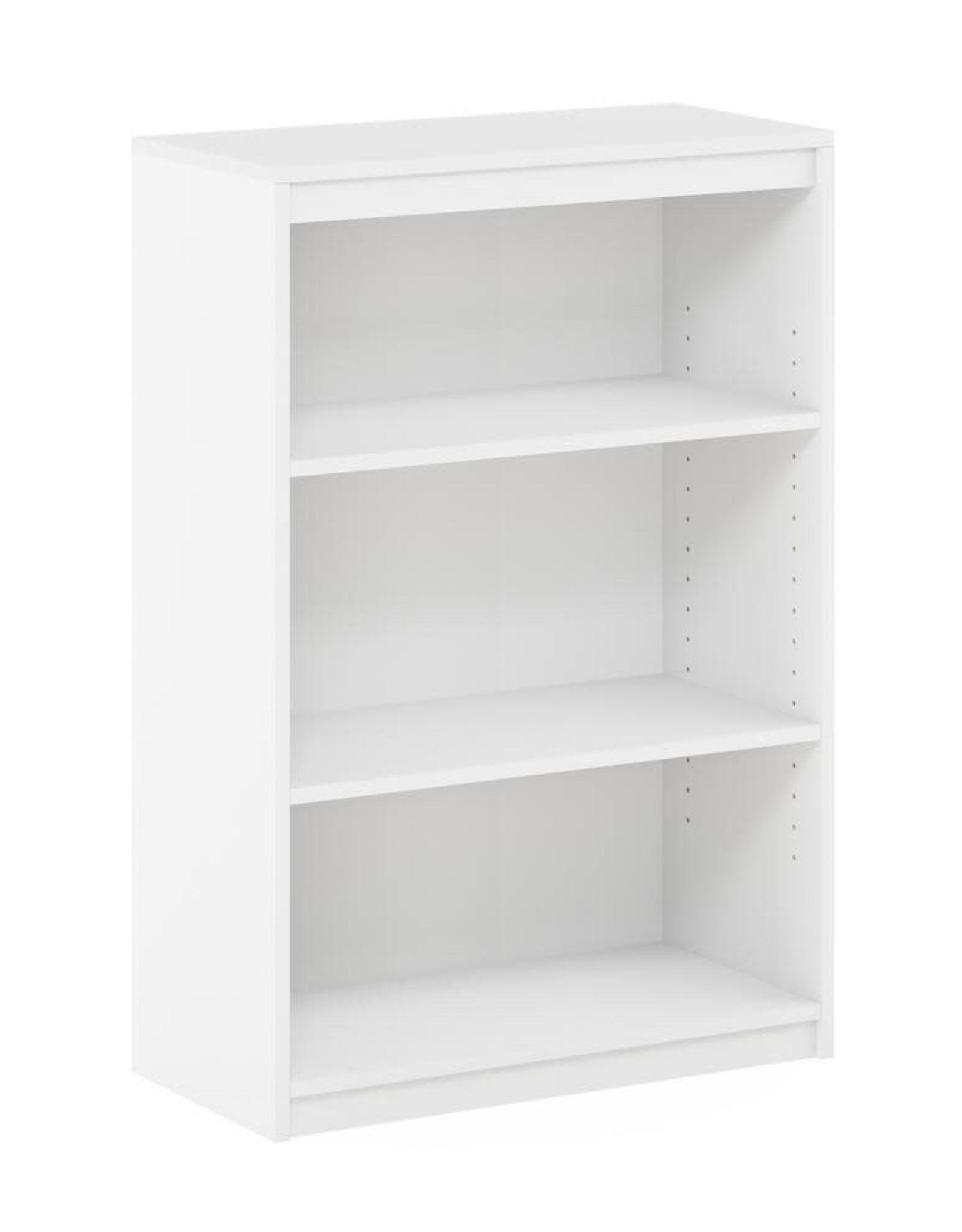 Furino Gruen 35.9 in. White 3-Shelf Standard Bookcase with Adjustable Shelves