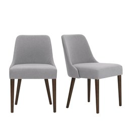 StyleWell Benfield Sable Brown Wood Upholstered Dining Chair with Stone Gray Seat (Set of 2)