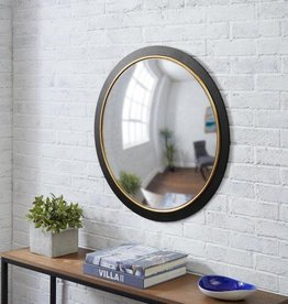 StyleWell Medium Round Black & Gold Convex Classic Accent Mirror (28 in. Diameter)