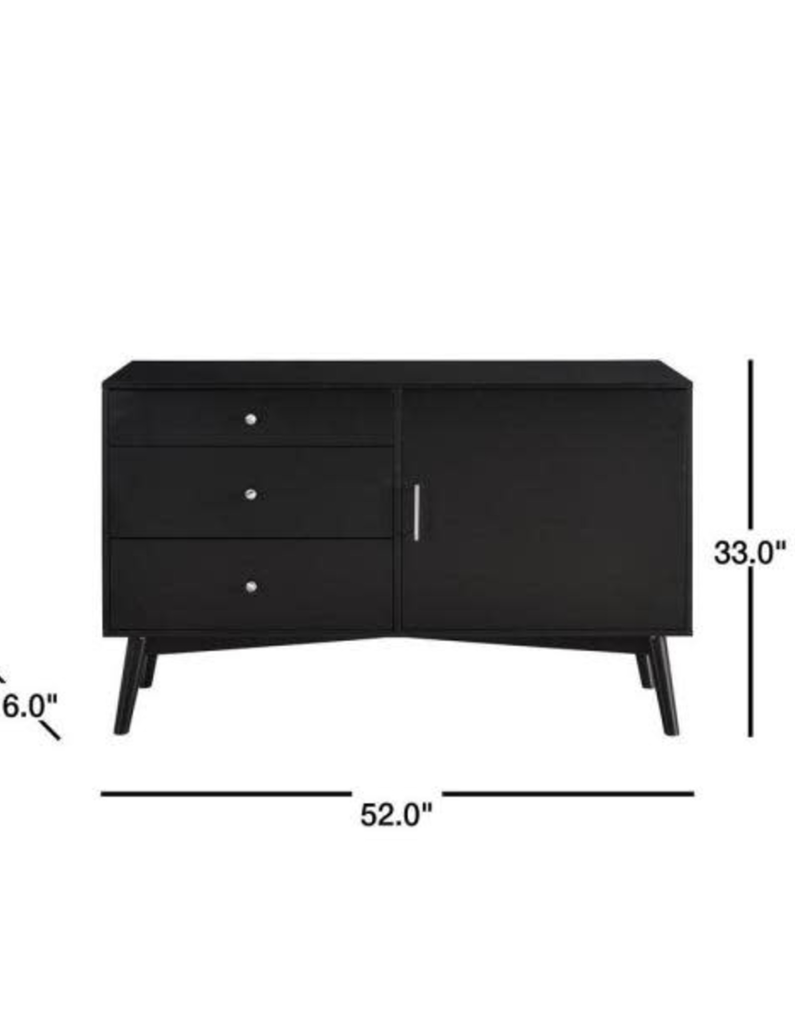 Walker Edison Furniture Company 52 in. Black Composite TV Stand with 3 Drawer Fits TVs Up to 55 in. with Doors