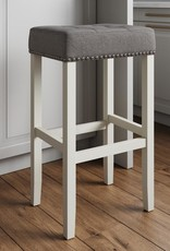 Nathan James Hylie 29 in. Tufted Gray Nailhead Saddle Cushion White Wood Pub-Height Counter Bar Stool