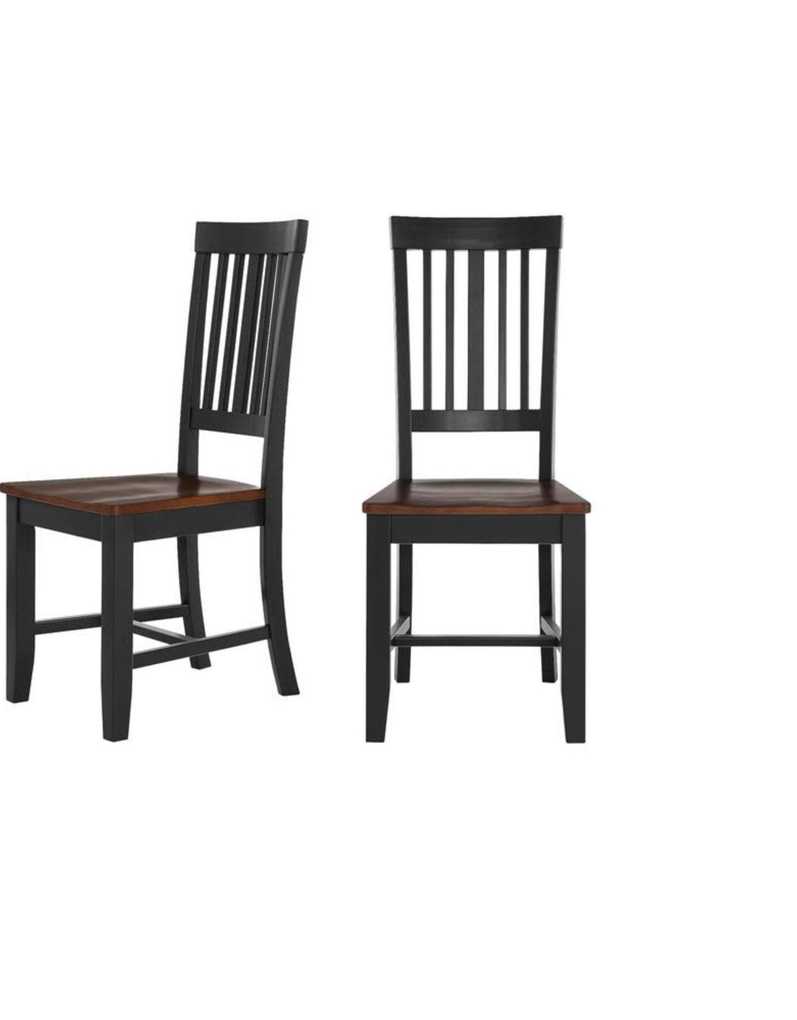 StyleWell Scottsbury Black Wood Dining Chair with Slat Back and Walnut Finish Seat (Set of 2)