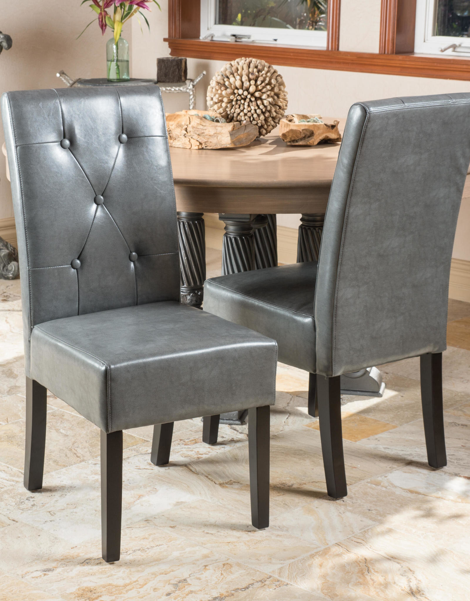 Noble House Taylor Dark Grey Bonded Leather Dining Chair (Set of 2)