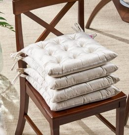 Noble House Foxhall Beige Tufted Dining Chair Pad (Set of 4)