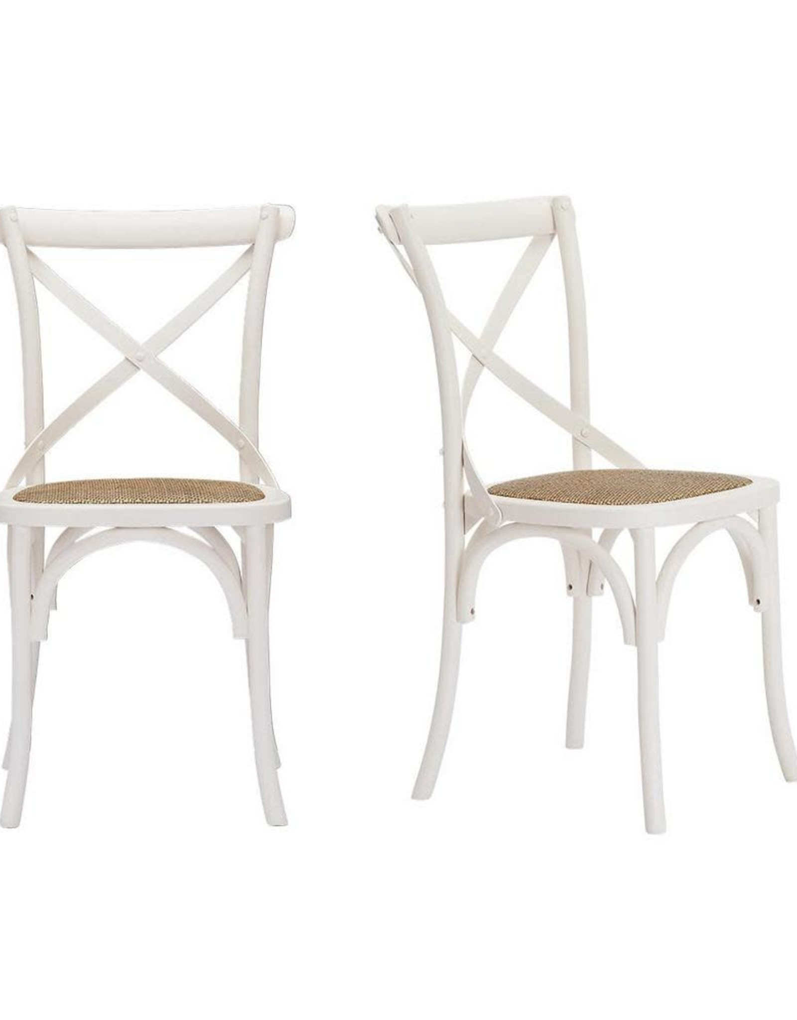 Home Decorators Collection Mavery Ivory Wood Dining Chair with Cross Back and Woven Seat