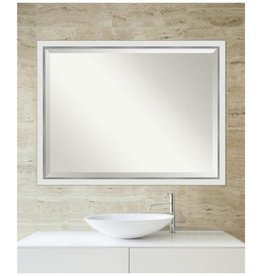 Amanti Art Medium Rectangle Satin Silver MetallicWhite Beveled Glass Modern Mirror (33.12 in. H x 43.12 in. W)