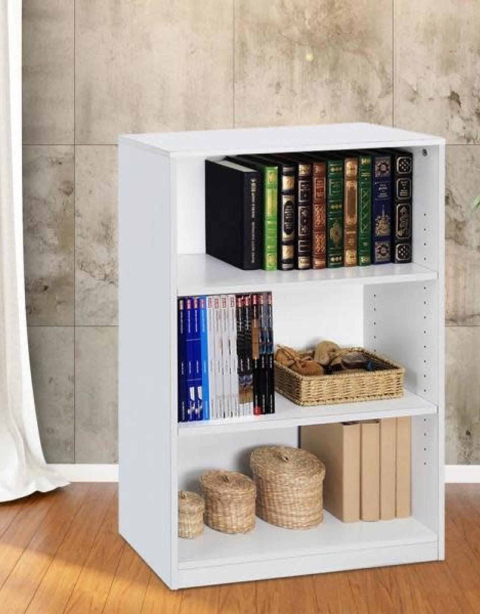 Furrino 40.3 in. White Wood 3-shelf Standard Bookcase with Adjustable Shelves