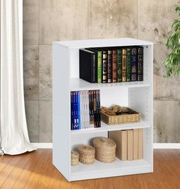Furrino 40.3 in. White Wood 3-shelf Standard Bookcase with Adjustable Shelves