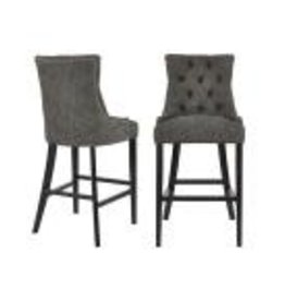 StyleWell Bakerford Ebony Wood Upholstered Bar Stool with Back and Charcoal Seat (Set of 2)