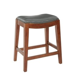 OSP Home Furnishings Metro 23.75 in. Pewter Bonded Leather Saddle Stool with Nail Head Accents and Espresso Legs