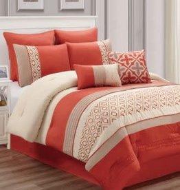 HALLMART COLLECTIBLES INC 8-Piece Comforter Set, King, Janna - Orange