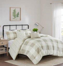 JLA HOME/E & E CO LTD Morrison 5 Piece King Reversible Buffalo Check Comforter Set - Taupe