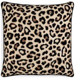 "ENVOGUE INTERNATIONAL LLC Lacourte Lulu 20"" Cotton Chambray Embellished Leopard Print Decorative Pillow"