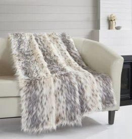 CHIC HOME DESIGN LLC Hadar Two-Tone Faux Fur Pattern 50 x 60 Blanket Beige