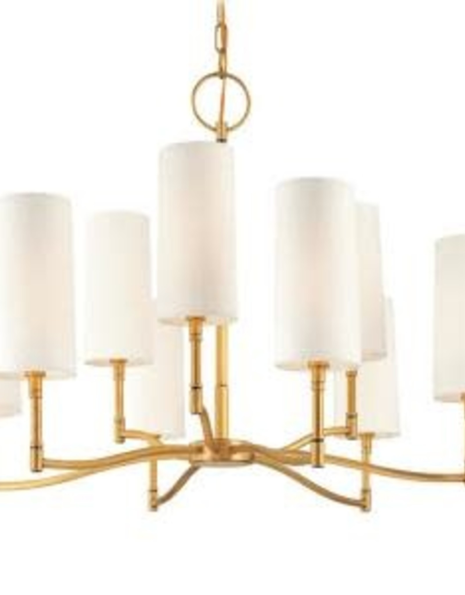 Fifth and Main Lighting Madeline 9-Light Aged Brass Chandelier with White Linen Shade