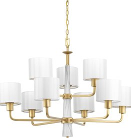 Progress Lighting Palacio Collection 9-Light Vintage Gold Chandelier with Shade