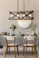 LNC Farmhouse 4-Light Solid Wood Dining Room Chandelier with Frosted Glass Shades Adjustable Black Durable Pendant Lighting