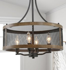 LNC Eniso 16 in. 4-Light Black Mesh Iron Drum Modern Island Cage Chandelier with Walnut Wood Accents