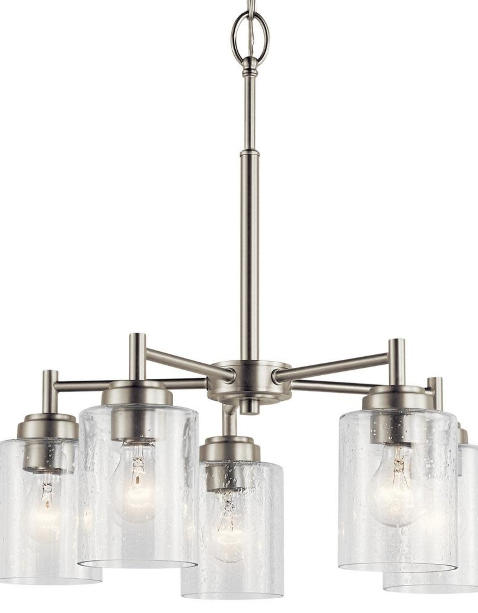 Kichler Winslow 5-Light Brushed Nickel Chandelier with Clear Seeded Glass Shade