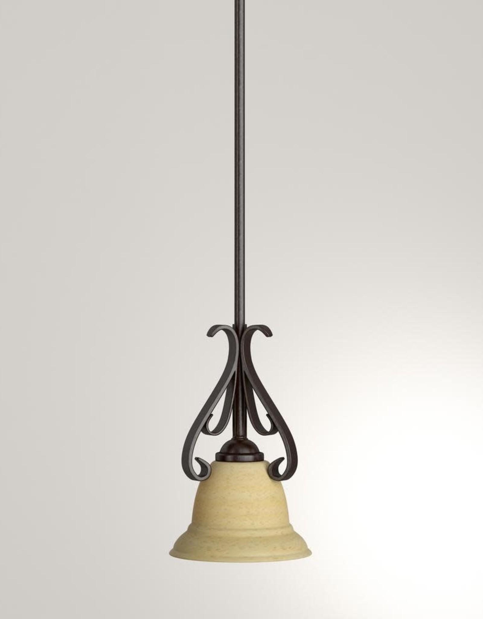 Progress Lighting Torino 1-Light Forged Bronze Kitchen Island Mini Pendant with Tea-Stained Glass