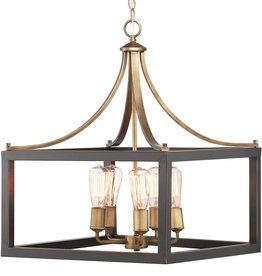 Progress Lighting Boswell Quarter 5-Light Vintage Brass Pendant with Painted Black Distressed Wood Accents