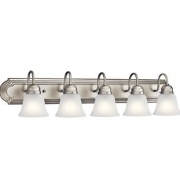 Kichler Independence 36 in. 5-Light Brushed Nickel Vanity Light with Frosted Glass Shade