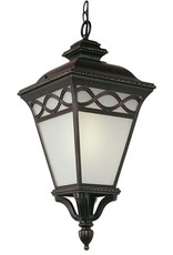 Transglobe Dublin 1-Light Black Outdoor Pendant Light with Frosted Glass