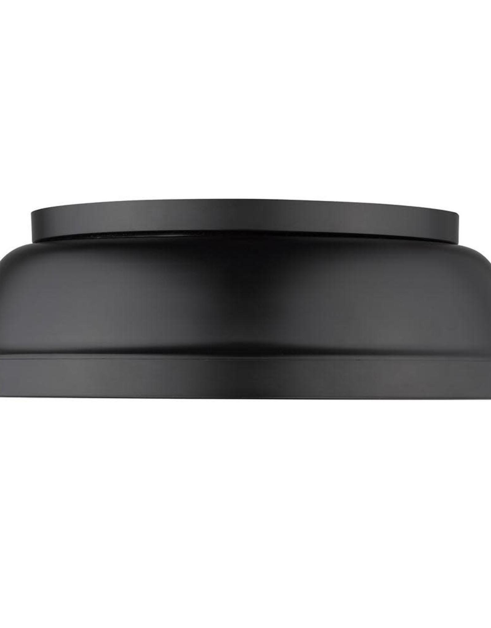 Golden Lighting Duncan 2-Light Black Flush Mount with Matte Black Shade
